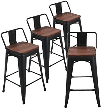 Amazon.com: Andeworld Metal Bar Stools Set of 4 with Backs Counter .