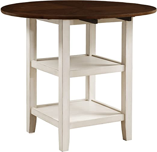 Amazon.com: Homelegance Kiwi Counter Height Drop Leaf Table, White .
