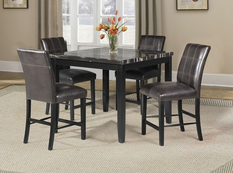 71070-72 5 pc blythe square black finish wood and faux marble top .
