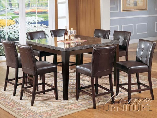 Danville 9 Piece Marble Top Counter Height Table Set in Espresso .