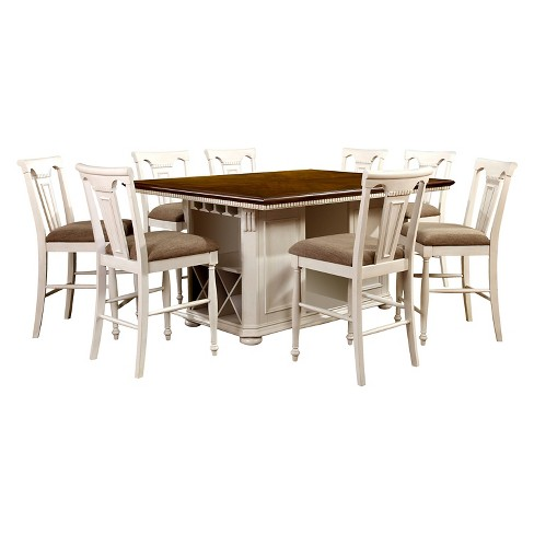 9pc Jeffron Country Storage Counter Height Table Set Red/White .