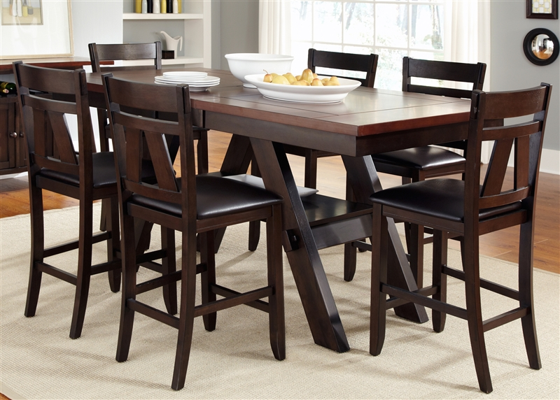 Lawson 5 Piece Counter Height Dining Set in Espresso Two Tone .