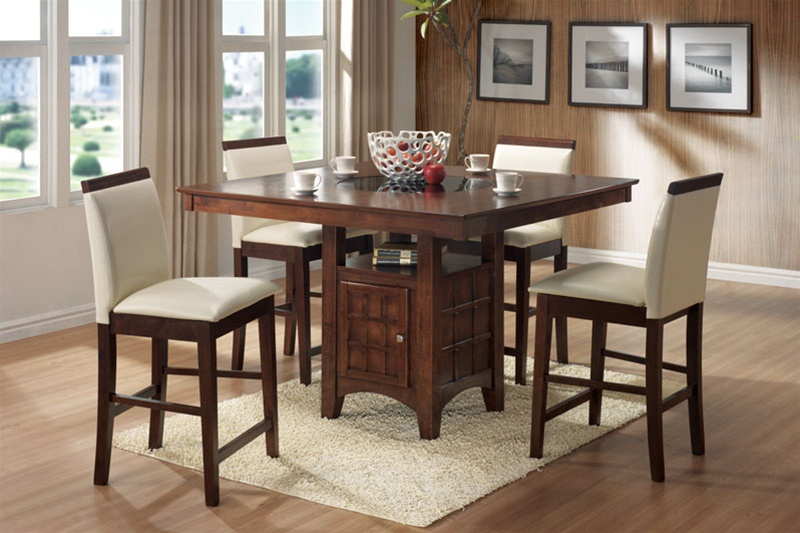 Roxy Lazy Susan Storage Base 5 Piece Counter Height Dining Set .