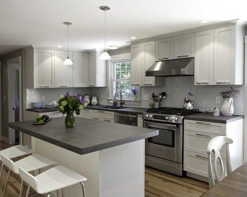 White Kitchen Cabinets With Dark Grey Countertops 3523 Home And .
