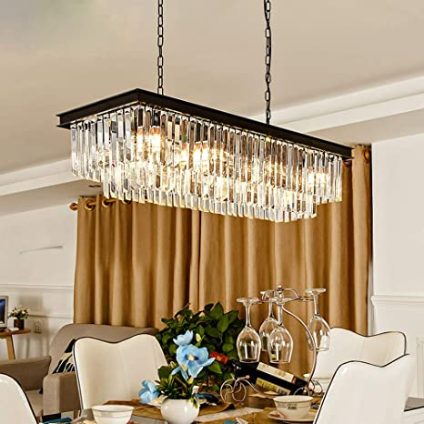 Rectangular Modern K9 Crystal Chandeliers Lighting Pendant Ceiling .