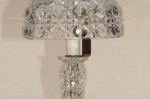 90s Vintage Heavy Crystal Clear Glass Table Lamp, Vase, W Shade .