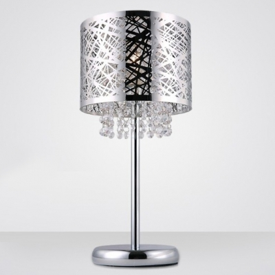Stunning Chrome Finish Drum Shade and Beautiful Strands of Clear .