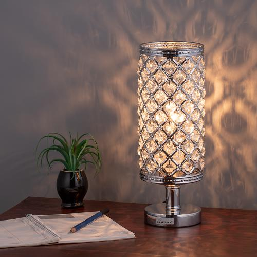 HAITRAL Crystal Table Lamp – Silver Bedside Desk Lamp with .