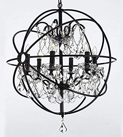 Foucault's Orb Wrought Iron Crystal Chandelier Lighting Country .