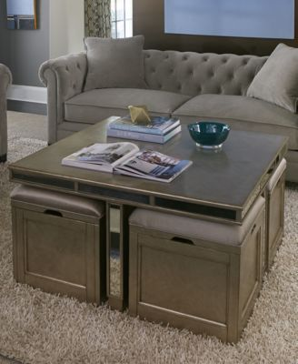 Ailey Cube Coffee Table with 4 Storage Ottomans | macys.com .