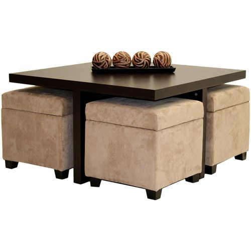 12 Cube Coffee Table With 4 Storage Ottomans Imag