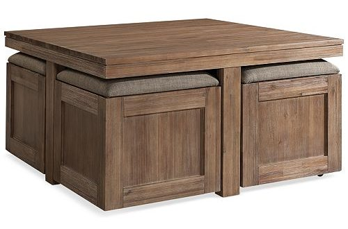 Furniture Champagne Cube Coffee Table with 4 Storage Ottomans .