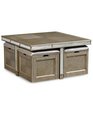 Champagne Cube Coffee Table with 4 Storage Ottomans, Created for .