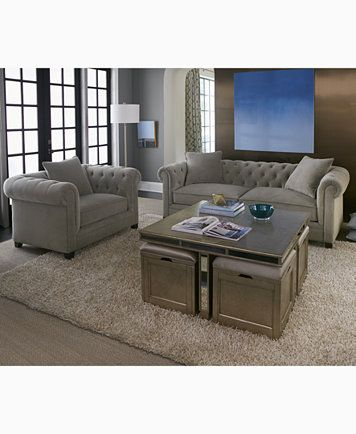 Ailey Cube Coffee Table with 4 Storage Ottomans, Only at Macy's .