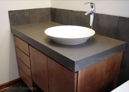 Concrete vanity top with vessel sink. #Concrete #Vanity Tops .