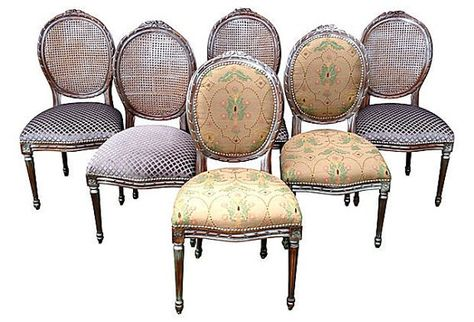Set of 6 french louis xvi silver distressed custom upholstered .