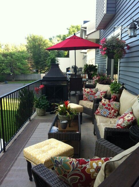 Long skinny townhouse deck Creating two spaces Summer deck .