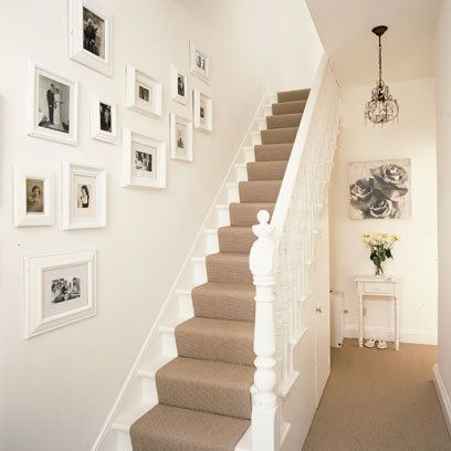 Hallway ideas to steal | White staircase, Hallway decorating .