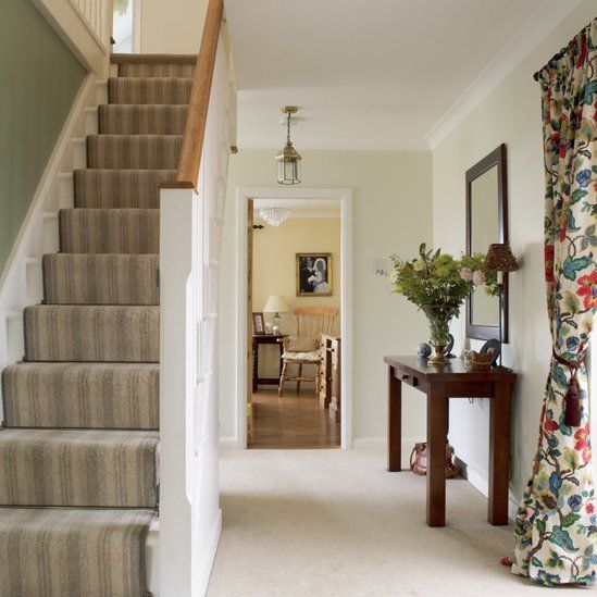 Hallway Stairs Decorating Ideas . | Country hallway, Hallway .