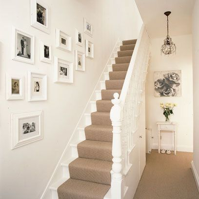 """Staircase,hallway ** """"I like the beige carpeting on white ."""