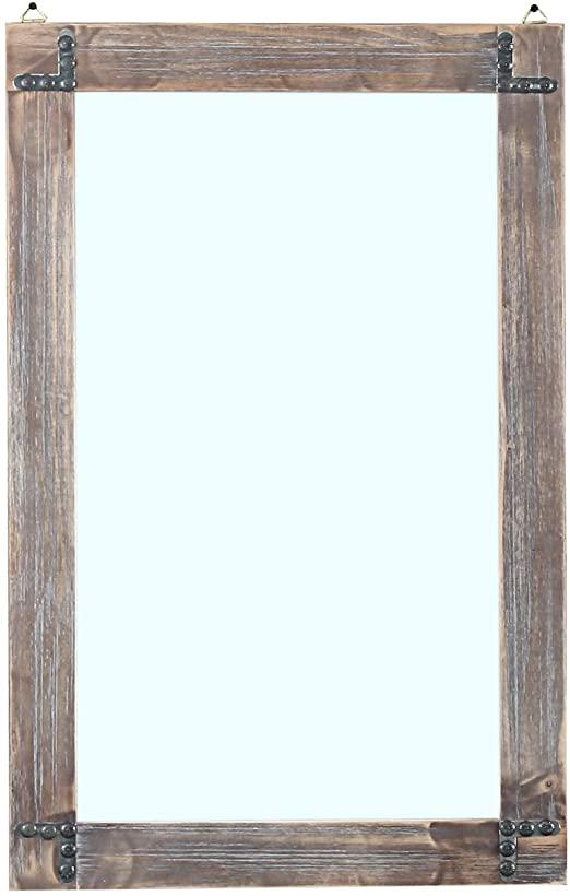Amazon.com: MBQQ Rustic Flat Wood Frame Hanging Wall Mirror .