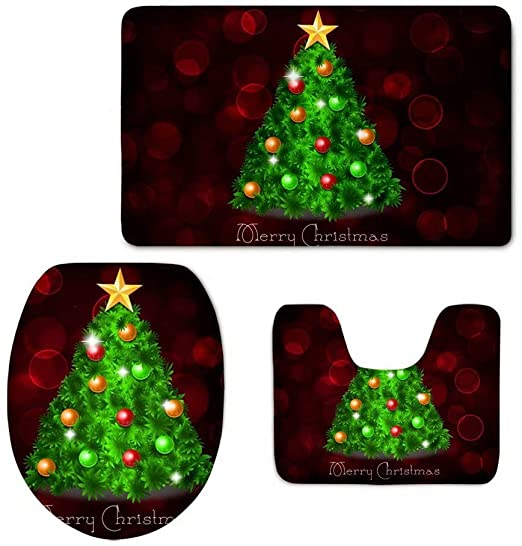Amazon.com: Dellukee Christmas Bathroom Rugs and Mats Sets 3 .