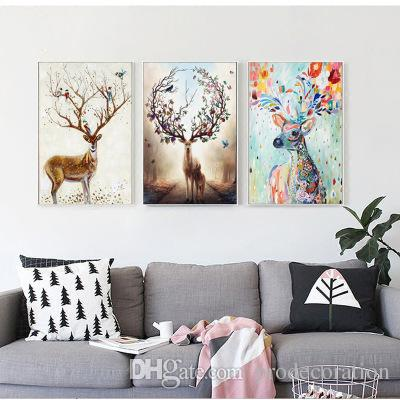 2020 Nordic Elk Decorative Painting Living Room Home Wall Hanging .