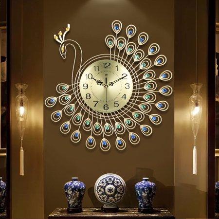 21 inch Non Ticking Silent 3D Large Luxury Diamonds Metal Art Wall .