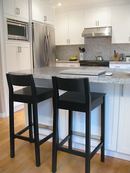 Kitchen bar stools. Black, wooden? With chair back. | Kitchen .