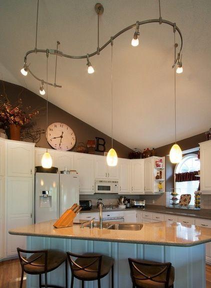 Designer Overhead Kitchen Light Fixtures | Vaulted ceiling .