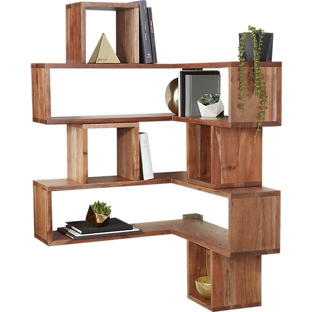Shop corner block wood shelf. Corners become attractive, usable .