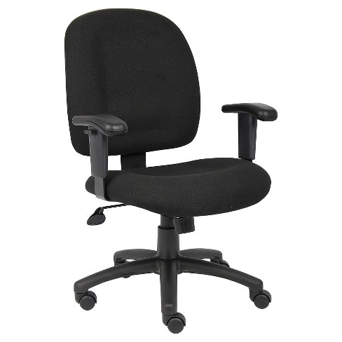 Fabric Task Chair With Adjustable Arms Black - Boss Office .