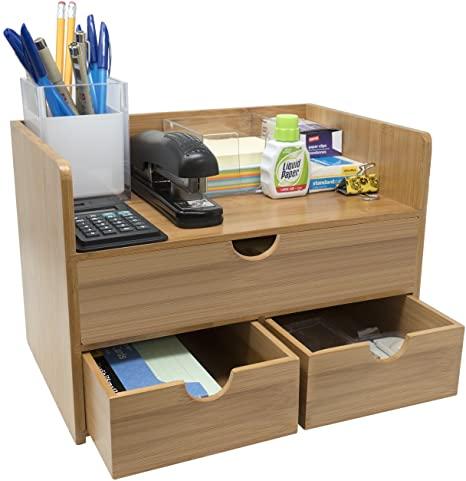 Amazon.com : Sorbus 3-Tier Bamboo Shelf Organizer for Desk with .
