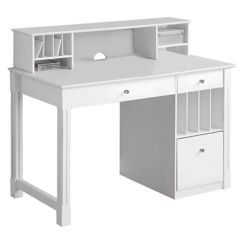Home Office Deluxe White Wood Storage Computer Desk With Hutch .