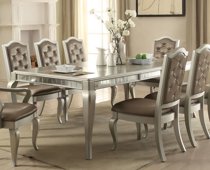 ACME 62080 Champagne Dining Room Table with 6 Chai