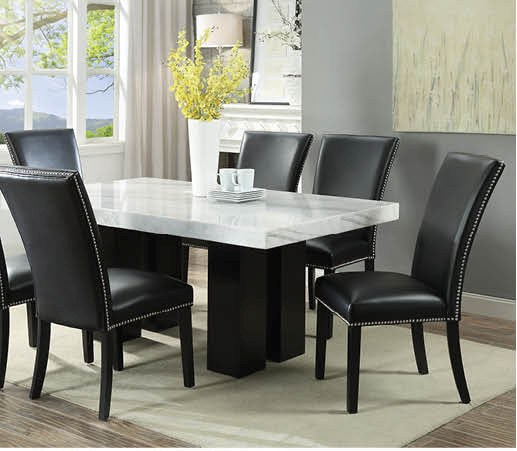 Cam White Marble Dining Room Set with 6 Black Chairs | Nader's .