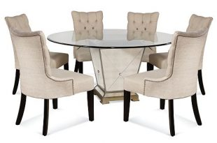"Furniture Marais Dining Room Furniture, 7 Piece Set (60"" Mirrored ."