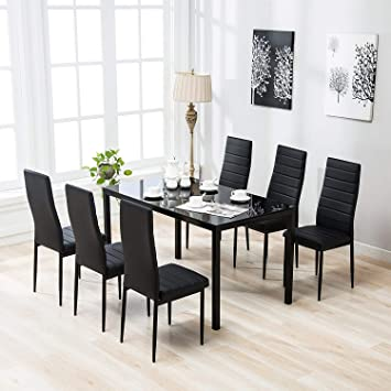 Amazon.com - Mecor 7 Piece Glass Kitchen Dining Table Set, Glass .