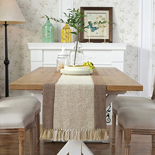 Amazon.com: PHNAM Table Runner with Tassels 72 Inches Long Linen .