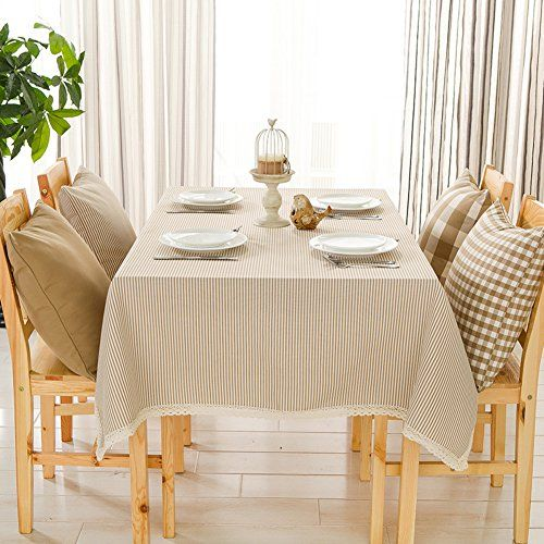 Japanese style stripe plain simple modern table cloth,cotton and .