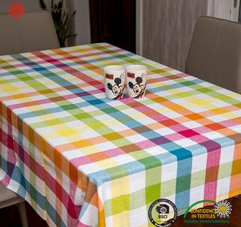 Customized dining table cloth cotton yarn dyed outdoor table cove