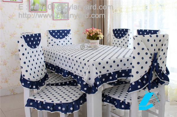 Dot design cotton dining tablecloth and chair cover set wholesale .