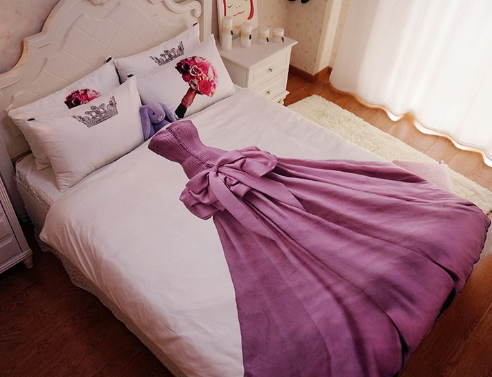 Queen size Princess bedding sets Kids teen Girls 100% cotton bed .
