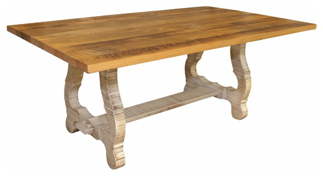 Alma Dining Table, Reclaimed Wooden Top, Distressed White Base .
