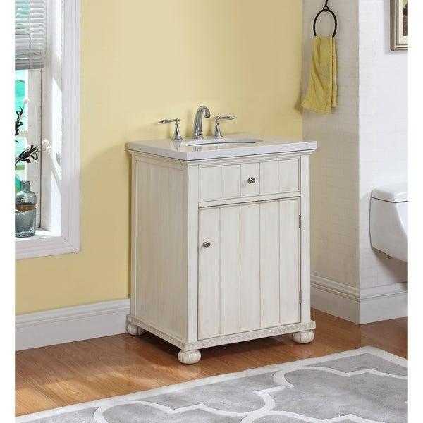 Shop Hampton Bath Vanity in Distressed White with Grey and White .