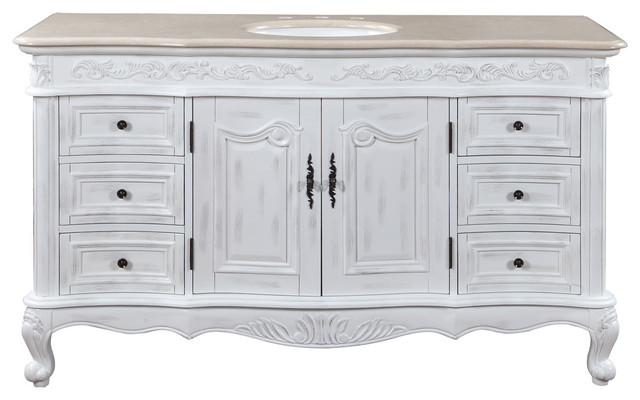 60 Inch Large Distressed White Bathroom Vanity, Single Sink .