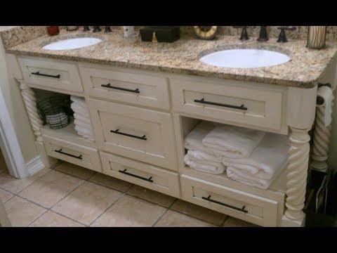 distressed white bathroom vanity