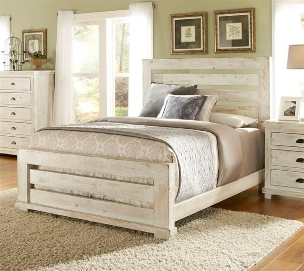Willow Casual Distressed White Wood King Slat Bed | White bedroom .