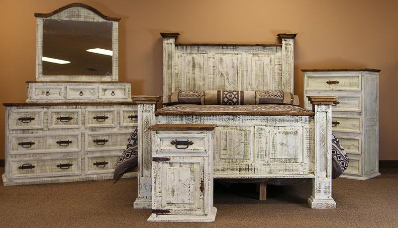 LMT | Oasis White Washed Rustic Bedroom Set | Dallas Designer .