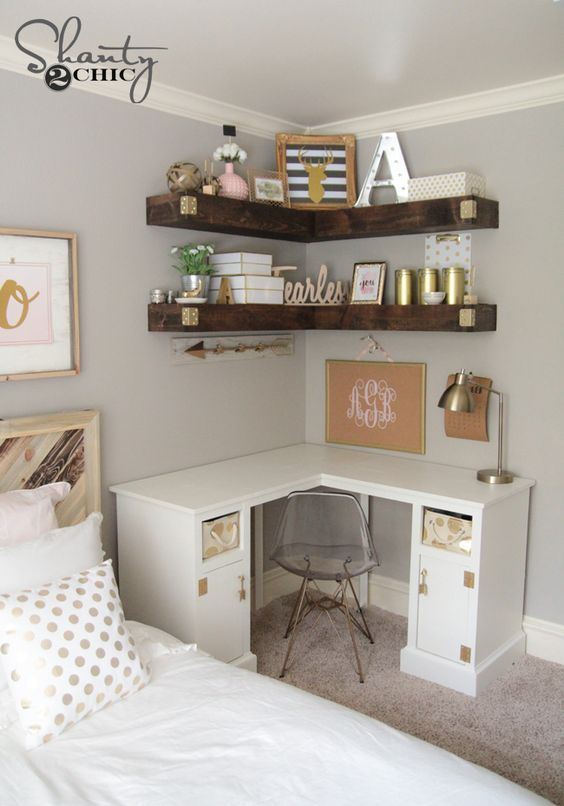 DIY Corner Floating Shelves | Recipe | 123 | Room decor, Home .